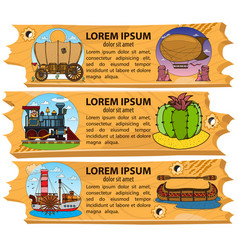 set banner wild west and american indians vector image