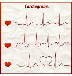 Set cardiograms vector