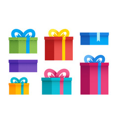 set different gift boxes in flat design vector image
