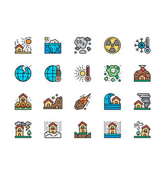 Set natural disaster flat color line icons vector