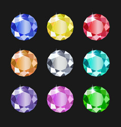 Set round jewels different colors gemstones vector