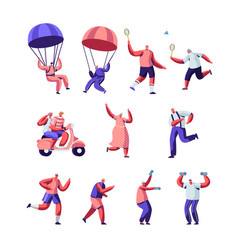 set senior people sport activity and healthy vector image