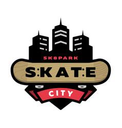 Skateboarding park logo emblem vector