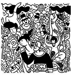 Sketch in doodle style group funny people on vector