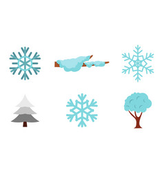 snow icon set flat style vector image