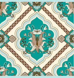 Square pattern with lilies and geometric vector