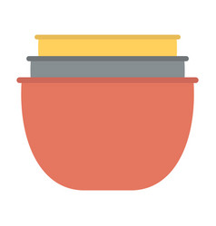 Stack clay pots isolated flat kitchen utensils vector