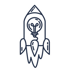 Startup idea icon flying rocket with light bulb vector