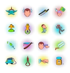 Suicide icons set vector image