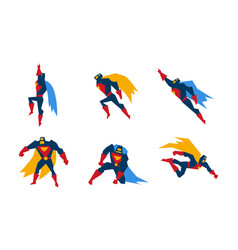 superheroes set superman character men with super vector image