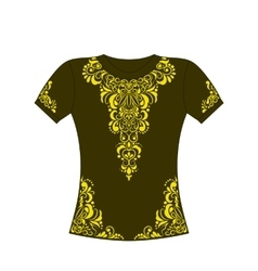 T-shirt with yellow ornament vector