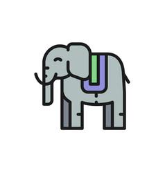 thai sacred elephant animal flat color line icon vector image