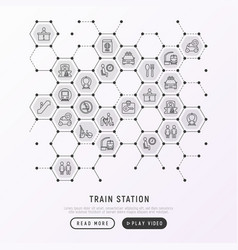 Train station concept in honeycombs vector