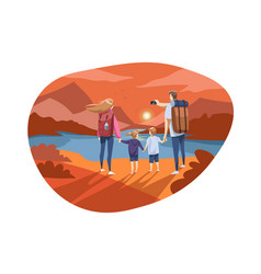 travelling family tourism nature hiking concept vector image