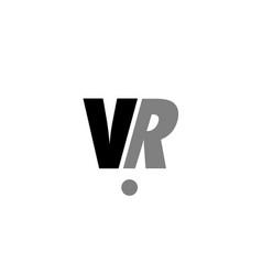 Vr v r black white grey alphabet letter logo icon vector