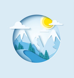 Winter mountain paper cut landscape vector