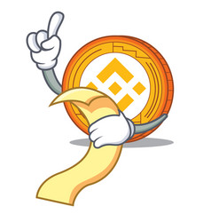 With menu binance coin mascot catoon vector