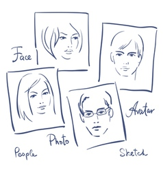 Women and men portrets sketchSet of photo frames vector image