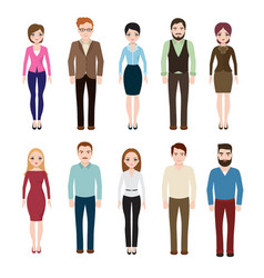 Young businesswoman and businessman isolated on vector