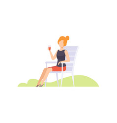 Young woman drinking wine from plastic cup girl vector