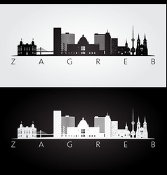 Zagreb skyline and landmarks silhouette black and vector