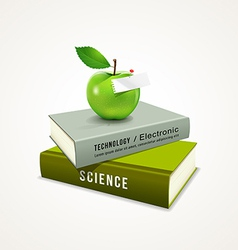 Colorful book and green apple vector image vector image