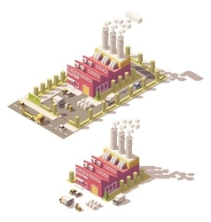 isometric low poly factory vector image vector image