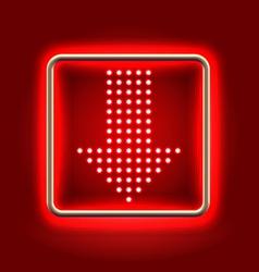 Red arrow down neon icon vector image vector image