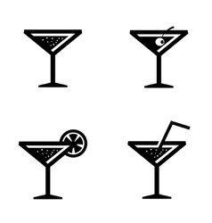 black cocktail icons set vector image
