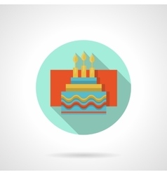 Cake with candles flat color icon vector image vector image