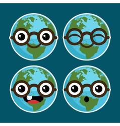 Cartoon planet earths with eyeglasses vector
