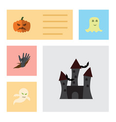flat icon halloween set of zombie pumpkin ghost vector image