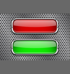 red and green glass buttons with metal frame on vector image