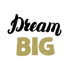 Dream big hand written lettering for card poster vector image vector image