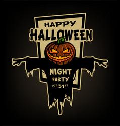 happy halloween pumpkin head scarecrow vector image