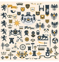Heraldic design elements set vector