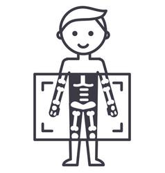 x-raymedical diagnostics man line ico vector image