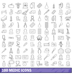 100 medic icons set outline style vector image