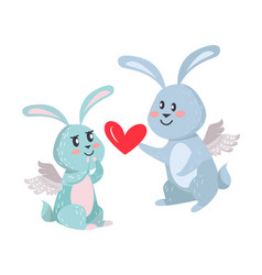 bunnies boy and girl with angel wings isolated vector image