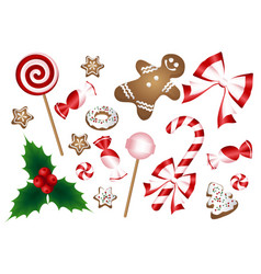 christmas cookies collection with gingerbread and vector image