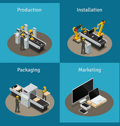 electronics factory isometric composition vector image vector image