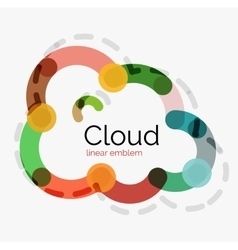 Flat design cloud icon background vector image