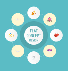 flat icons chariot pigeon engagement and other vector image vector image