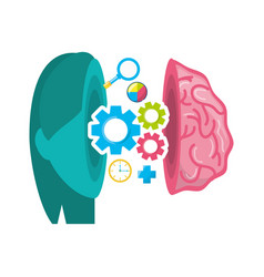 Healthy brain with gears process work vector