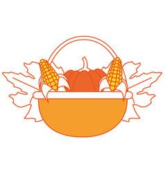 pumpkin and corns design vector image vector image