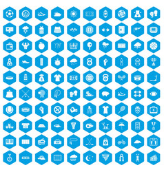 100 tennis icons set blue vector