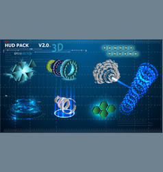 3d elements hud vector image