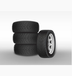 3d realistic black tyre with tread vector