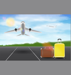 airplane fly over runway airport with travel bag vector image
