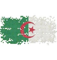 Algerian grunge tile flag vector
